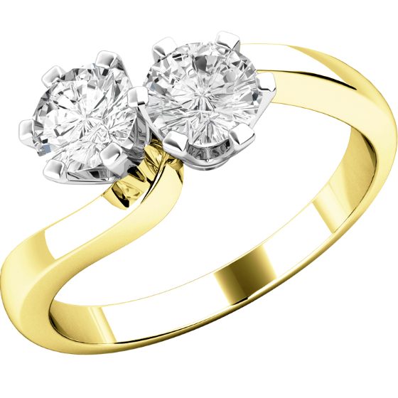 Engagement Ring for Women in 18ct Yellow and White Gold with 2 Round Brilliant Cut Diamonds with Claw Setting on a Twist-img1