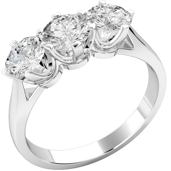 Three Stone Ring/Engagement Ring for women in platinum with 3 round brilliant cut diamonds in a claw setting-img1