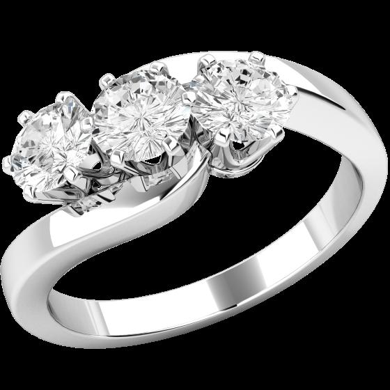 Drei-Steine Ring/Verlobungsring für Dame in 18kt Weißgold mit 3 runden Diamanten, Twist Stil-img1