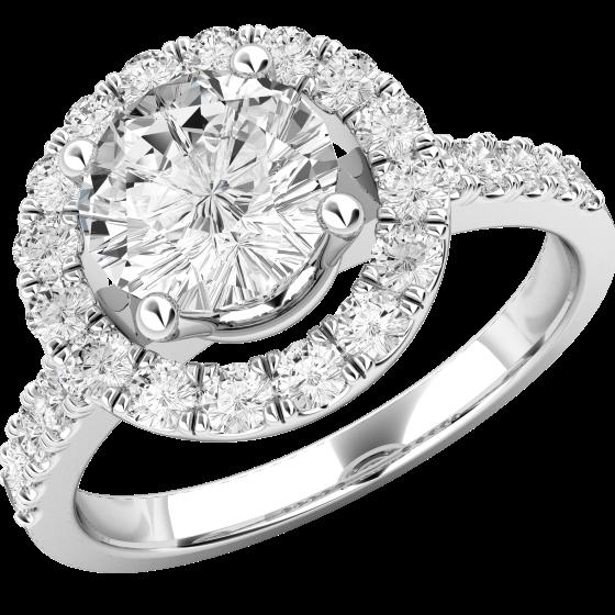 Inel Cocktail/ Inel de Logodna cu Diamante Dama Platina cu Diamante Rotund Briliant Setate cu Gheare Stil Halo-img1