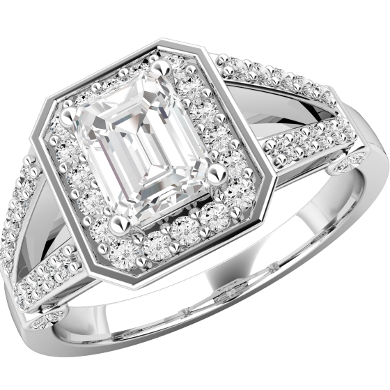 Inel Cocktail/Inel de Logodna cu Diamante Dama Aur Alb 18kt cu un Diamant Central Forma Smarald si Diamante Rotunde Briliant Imprejur-img1