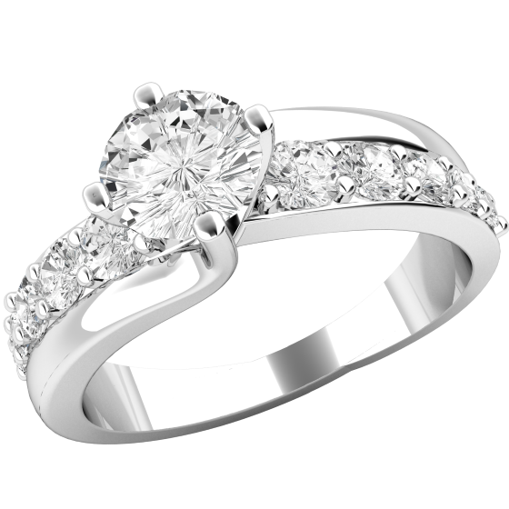 Single Stone Engagement Ring With Shoulders/Diamond Set Wedding Ring for Women in Platinum with a Round Brilliant Cut Diamond Centre and 5 Smaller Round Brilliant Cut Diamonds on Either Side-img1