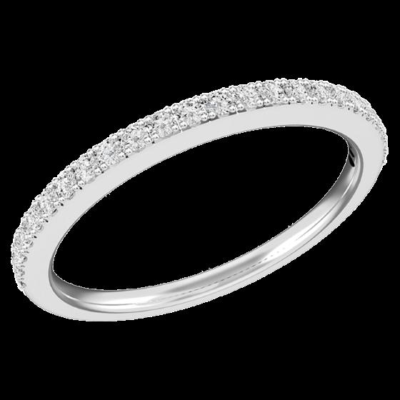 Halb Eternity Ring/Trauring mit Diamanten für Dame in 18kt Weißgold mit 24 runden Brillant Schliff Diamanten, 1.6mm breit-img1