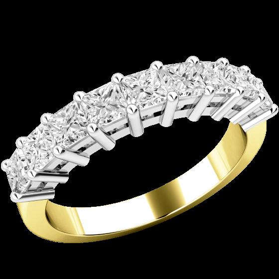 Halb Eternity Ring für Dame in 18kt Gelb- und Weißgold mit 9 Princess Schliff Diamanten in Krappenfassung-img1