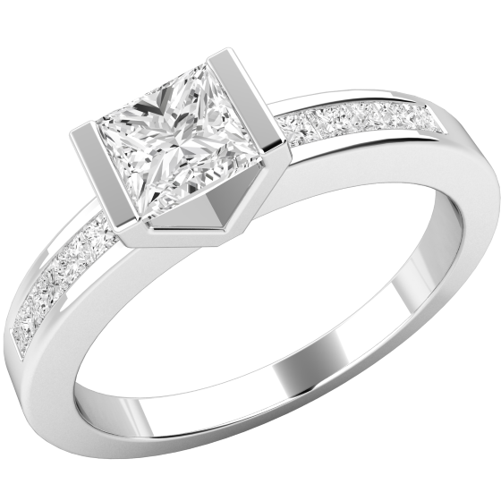 Single Stone Engagement Ring With Shoulders For Women In Platinum A Princess Cut Diamond Bar Setting And 5 Small Diamonds Channel