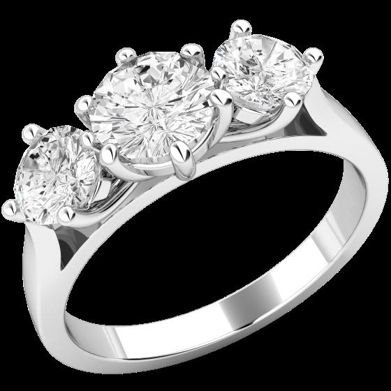 Drei-Steine Ring/Verlobungsring für Dame in 18kt Weißgold mit 3 runden Brillantschliff Diamanten in Krappenfassung-img1