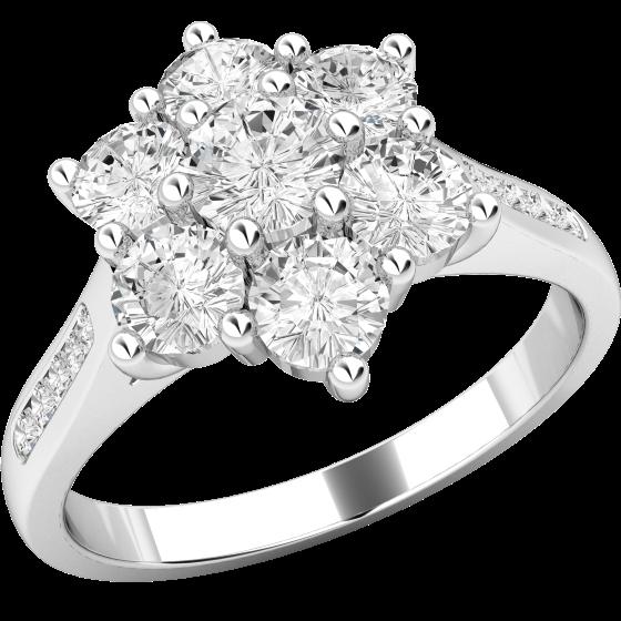 Inel de logodna cu Diamante Dama Platina cu 7 Diamante Rotund Briliant in Setare Gheare si Diamante in Setare Canal-img1