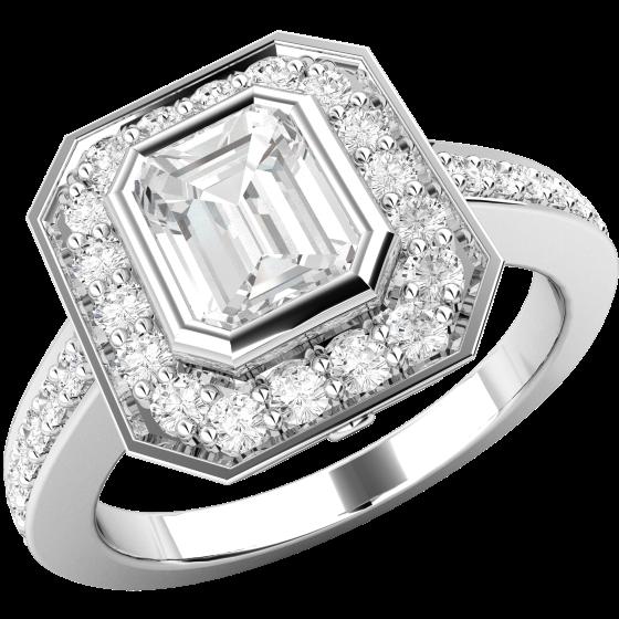Inel de Logodna Solitaire cu Diamante Mici pe Lateral Dama Aur Alb 18kt cu Diamant Forma Smarald in Centru si Diamante Mici Rotunde Imprejur-img1