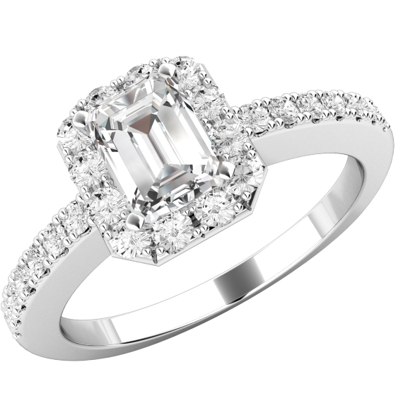 Verlobungsring im Cluster Stil für Dame in 18kt Weißgold mit einem Smaragd-Schliff Diamanten in der Mitte und runden Brillanten in Krappenfassung-img1