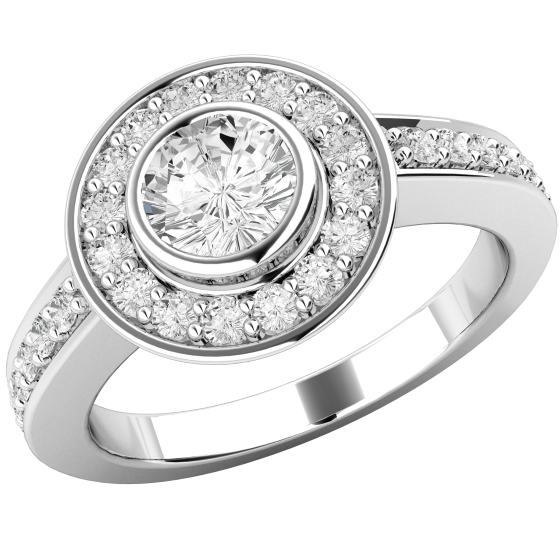 Art Deco Style Ring/Diamond Cluster Engagement Ring for Women in 18ct white gold with a round brilliant cut centre diamond in a rub-over setting, and round brilliant diamonds in claw setting surrounding it-img1