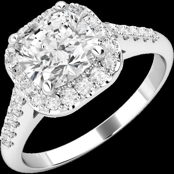 Art Deco Ring mit Diamanten für Dame in 18kt Weißgold mit einem Kissenschliff Diamanten umgeben von runden Brillanten-img1