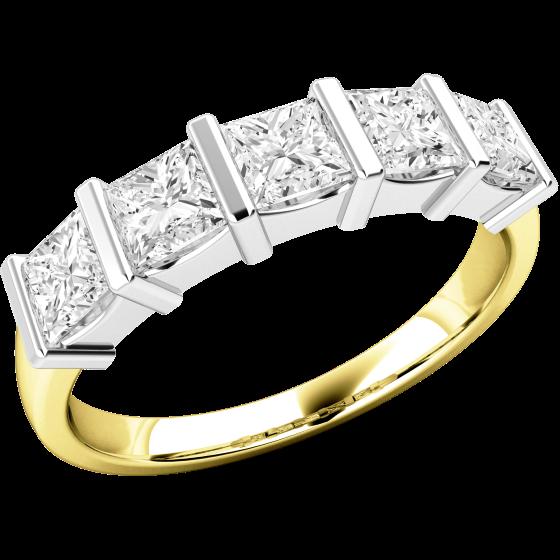 Halb Eternity Ring für Dame in 18kt Gelbgold und Weißgold mit 5 Princess Schliff Diamanten in Balkenfassung-img1