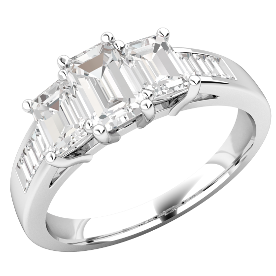 Three Stone Engagement Ring with Shoulders For Women in 18ct White