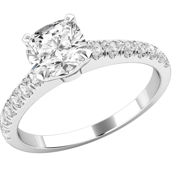 ec22dadf47f803 Single Stone Engagement Ring With Shoulders for Women in 18ct White Gold  with a Cushion Cut Diamond Centre and Small Round Brilliant Cut Diamond  Shoulders