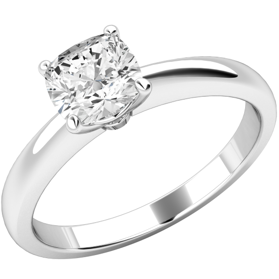 6800d3f61 Single Stone Engagement Ring for Women in 18ct White Gold with a Cushion  Cut Diamond in a 4-Claw Setting