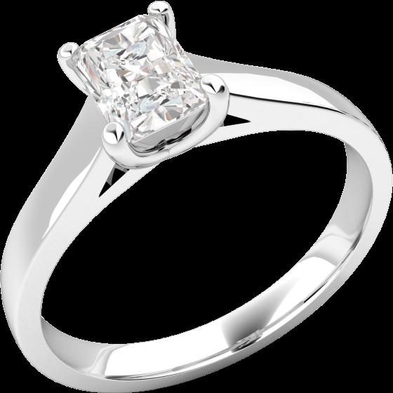 Inel de Logodna Solitaire Dama Aur Alb 18kt cu un Diamant Radiant Setat cu 4 Gheare-img1