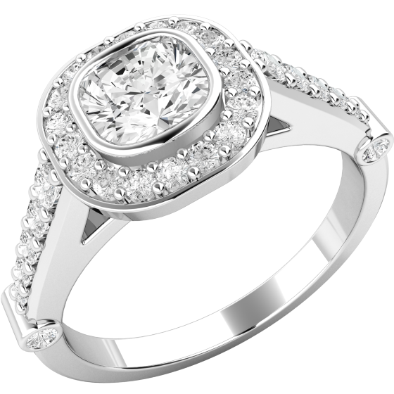 Inel de logodna cu Diamante Dama Aur Alb 18kt cu Diamant Cushion Inconjurat de Diamante Mici Rotund Briliant-img1