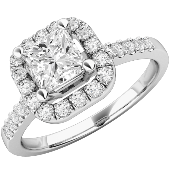RD634W - Art Deco Style Princess Cut Halo Diamond Ring for Women in 18ct White Gold-img1