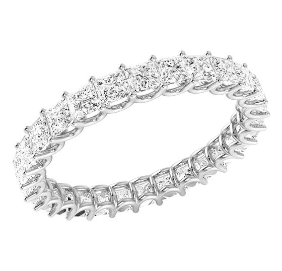 Verigheta cu Diamant/Inel Eternity Dama Aur Alb 18kt cu Diamante Princess in Setare Gheare, Latime 3,2mm-img1