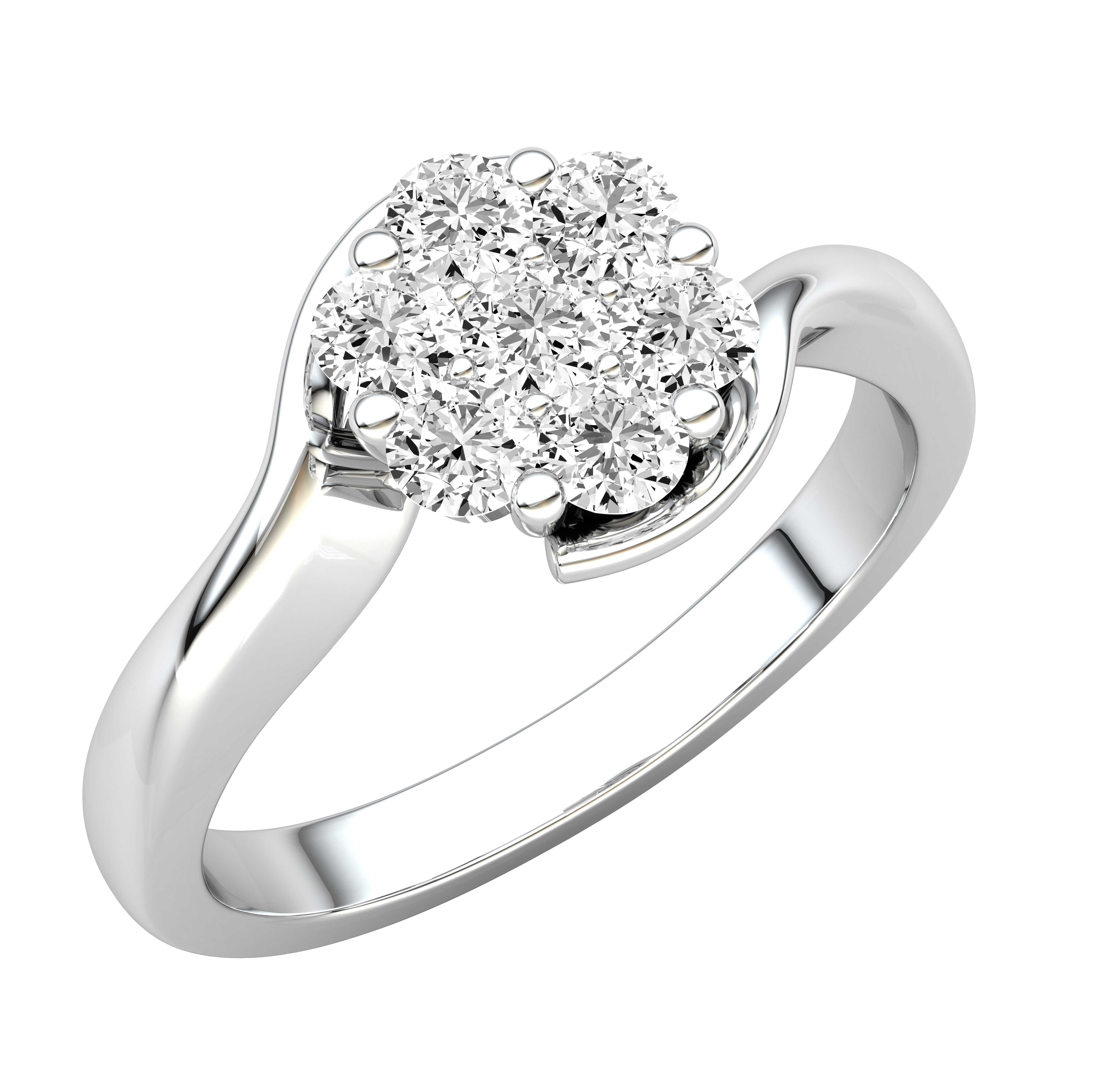 Inel de Logodna Cluster cu Mai Multe Diamante Dama Aur Alb 18kt cu Diamante Rotunde-img1