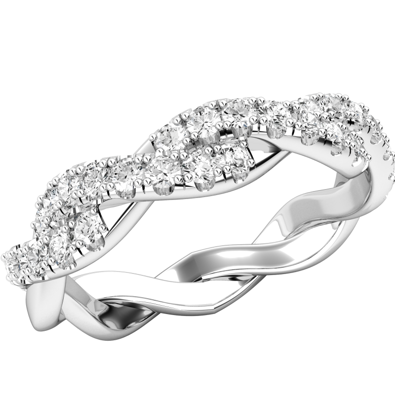 Inel Eternity/ Verigheta cu Diamant Dama Aur Alb 18kt cu Briliante Rotunde si Design Impletit-img1