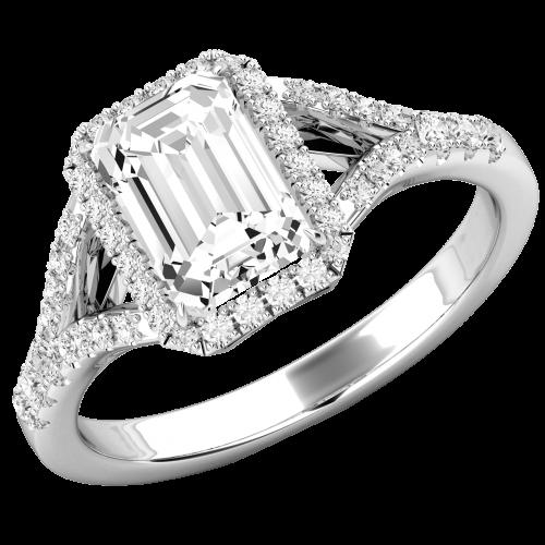 RD737W-Inel de Logodna cu Diamante Dama Aur Alb 18kt cu un Diamant Central Forma Smarald si Diamante Rotunde Briliant Imprejur,Design Clasic si Elegntă Pură-img1