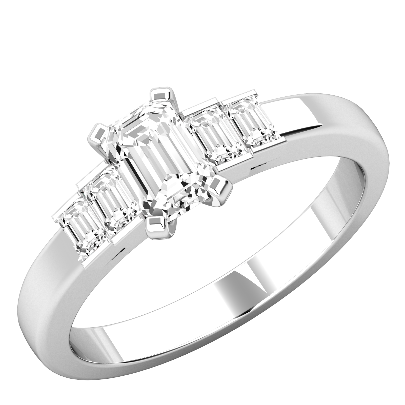 Diamantenring für Dame in Platin mit einem Smaragd Schliff Diamanten und vier Baguette Schliff Diamanten-img1