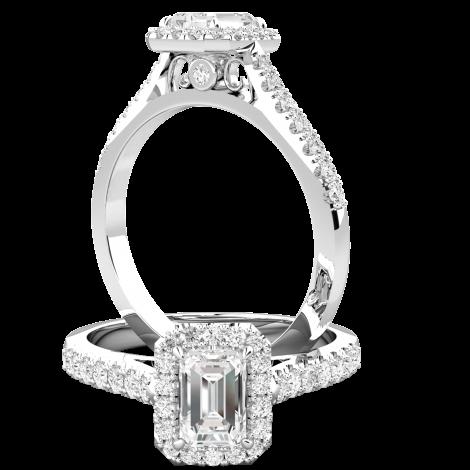 RD860W-Inel de Logodna Solitaire cu Diamante Mici pe Lateral Dama Aur Alb 18kt cu Diamant Forma Smarald in Centru si Diamante Mici Rotunde Imprejur si pe Lateral-img1