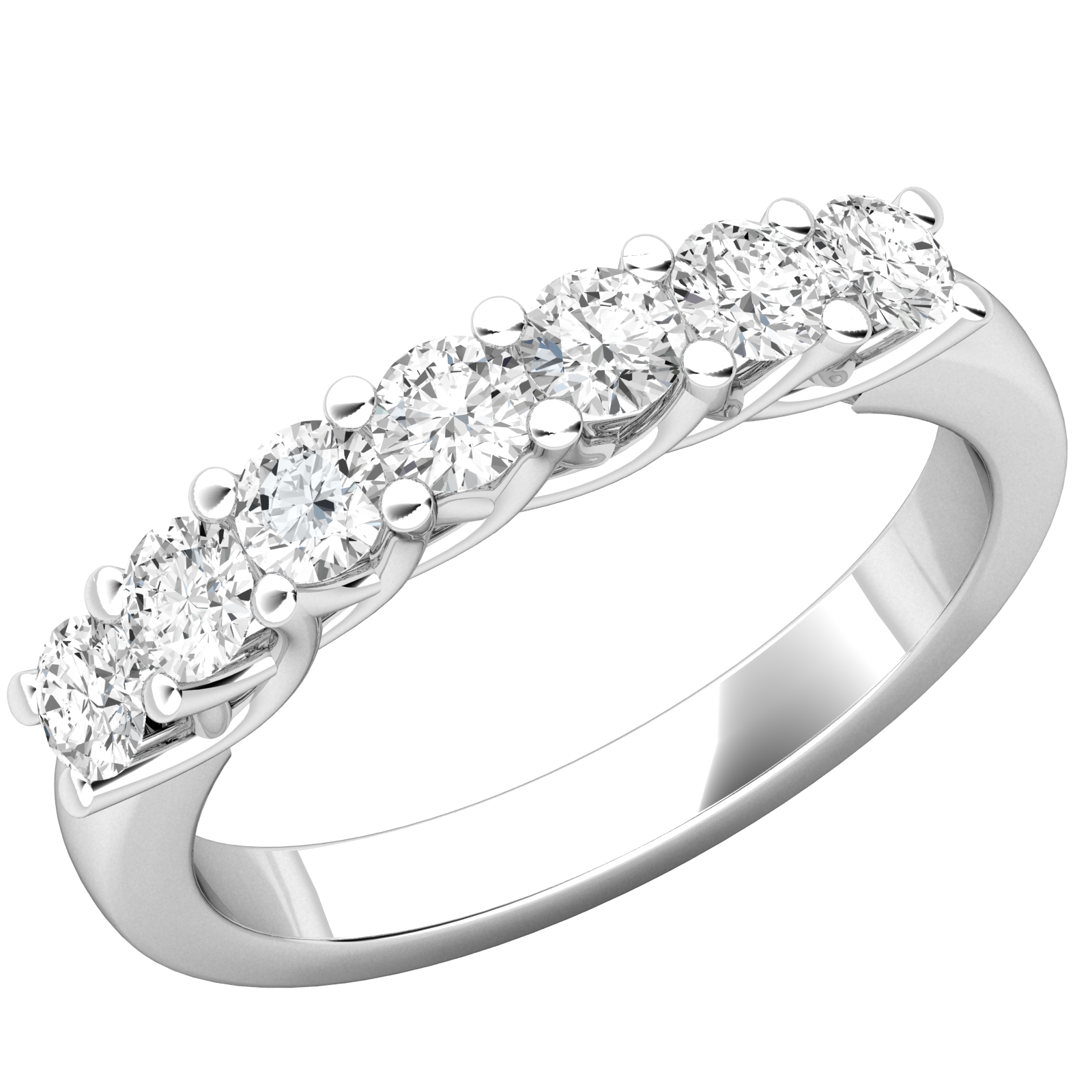 Inel Semi Eternity Platina Cu 7 Diamante in Setare Clasica cu Gheare-img1