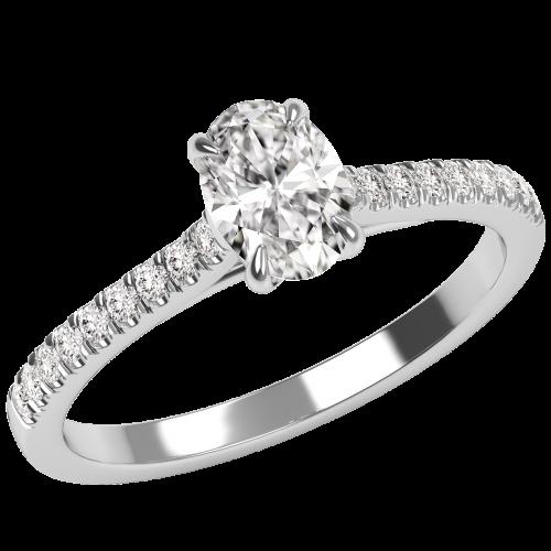Inel de Logodna Solitaire cu Diamante Mici pe Lateral Damă,Aur Alb 18kt cu un Diamant Central in Forma Ovala-img1