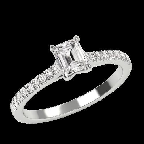 Inel de Logodna Solitaire cu Diamante Mici pe Lateral Dama,Aur Alb 18kt cu Diamant Central Forma Smarald si Diamante Rotund Briliant Mici-img1