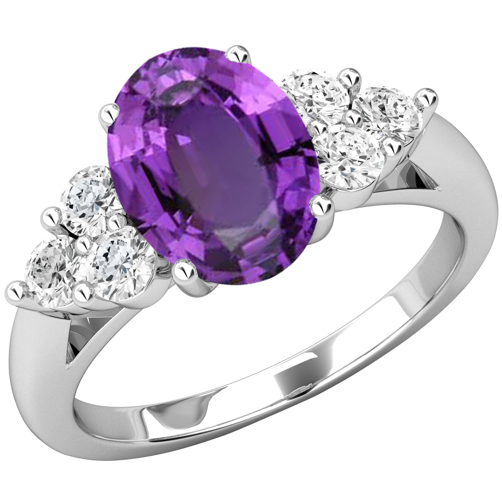 Inel cu Ametist si Diamant Dama Aur Alb 18kt cu Ametist Oval si 3 Diamante Rotund Briliant pe Fiecare Parte-img1