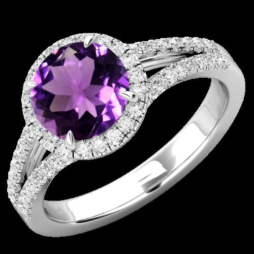 RDAM747W- Inel cu Ametist si Diamante Dama Aur Alb 18kt cu Ametist si Diamante Rotund Briliant Setate cu Gheare, Stil Halo-img1