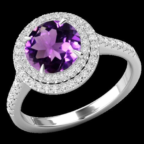 Inel cu Ametist si Diamant Dama Aur Alb 18kt cu un Ametistt Rotund Inconjurat de 68 Diamante Rotund Briliant, Stil Halo-img1