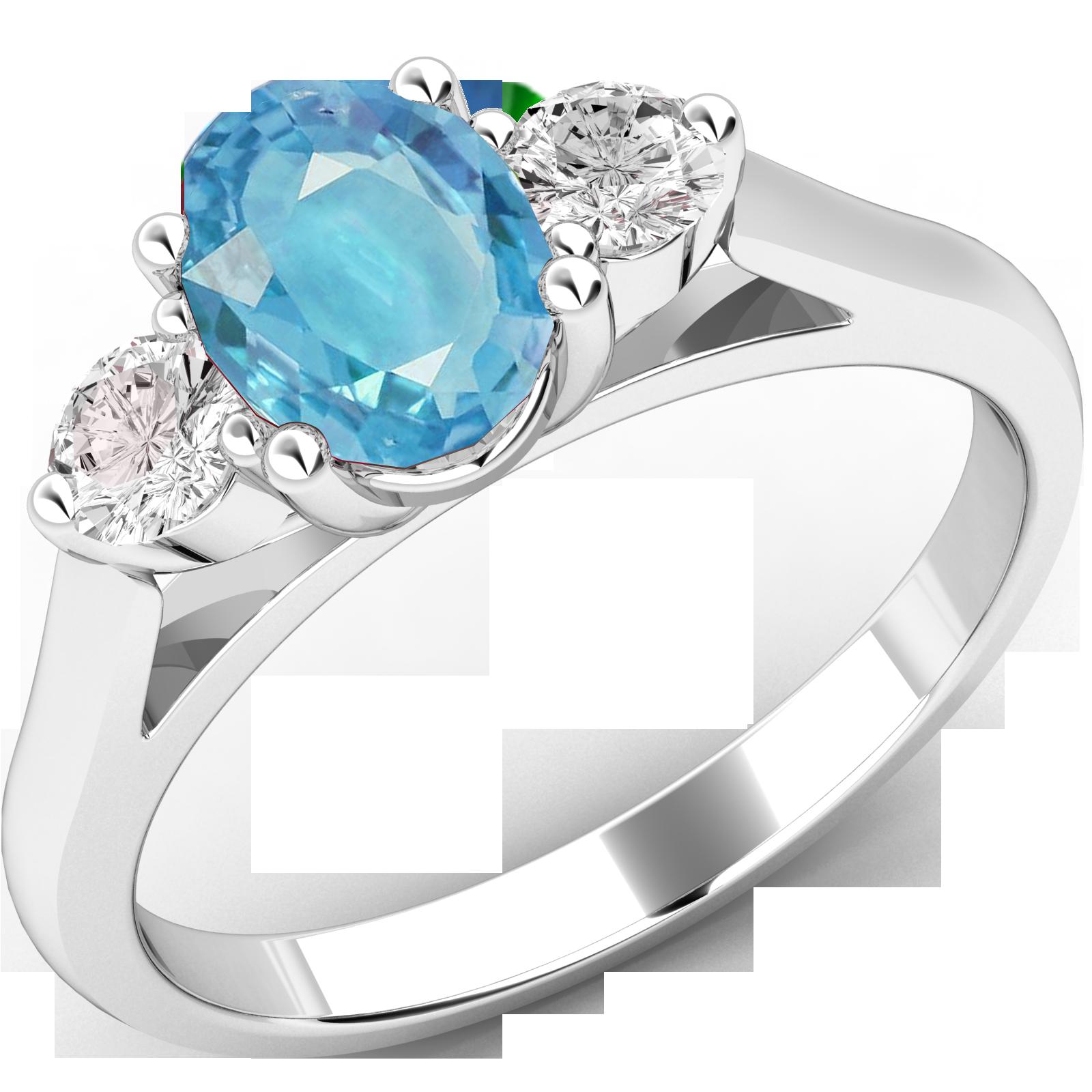 Inel cu Acvamarin si Diamant Dama Aur Alb 18kt cu un Acvamarin Oval si Diamante Rotund Briliant pe Margini-img1