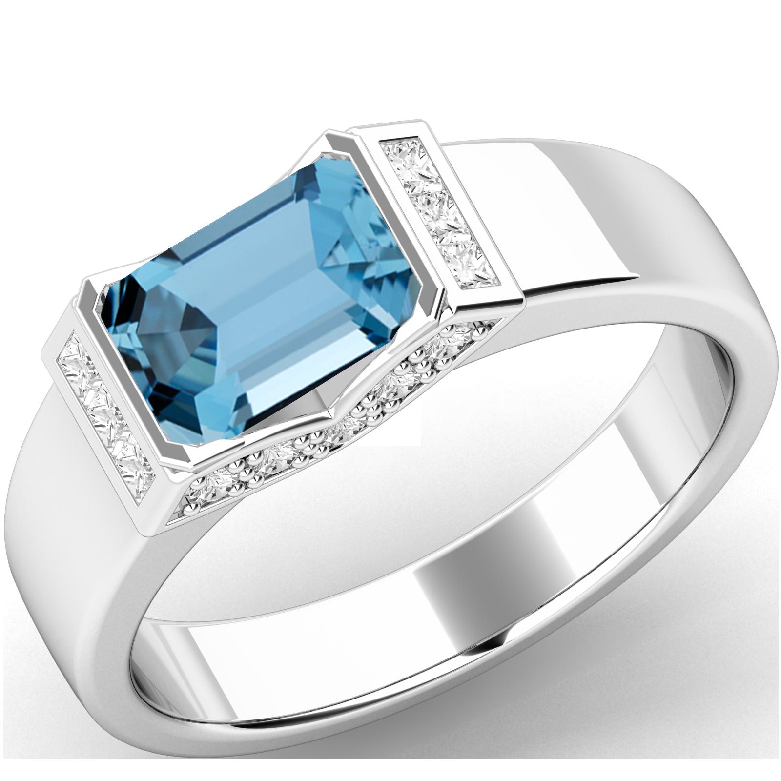 Inel Dama Aur Alb 18kt cu Acvamarin si Diamante-img1