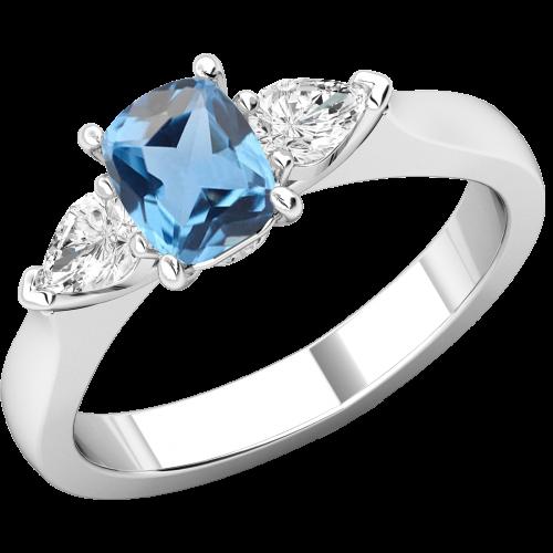 RDAQ713W-Inel cu Acvamarin si Diamante Dama Aur Alb 18kt un Acvamarin Oval si 2 Diamante Forma Para pe Margini-img1