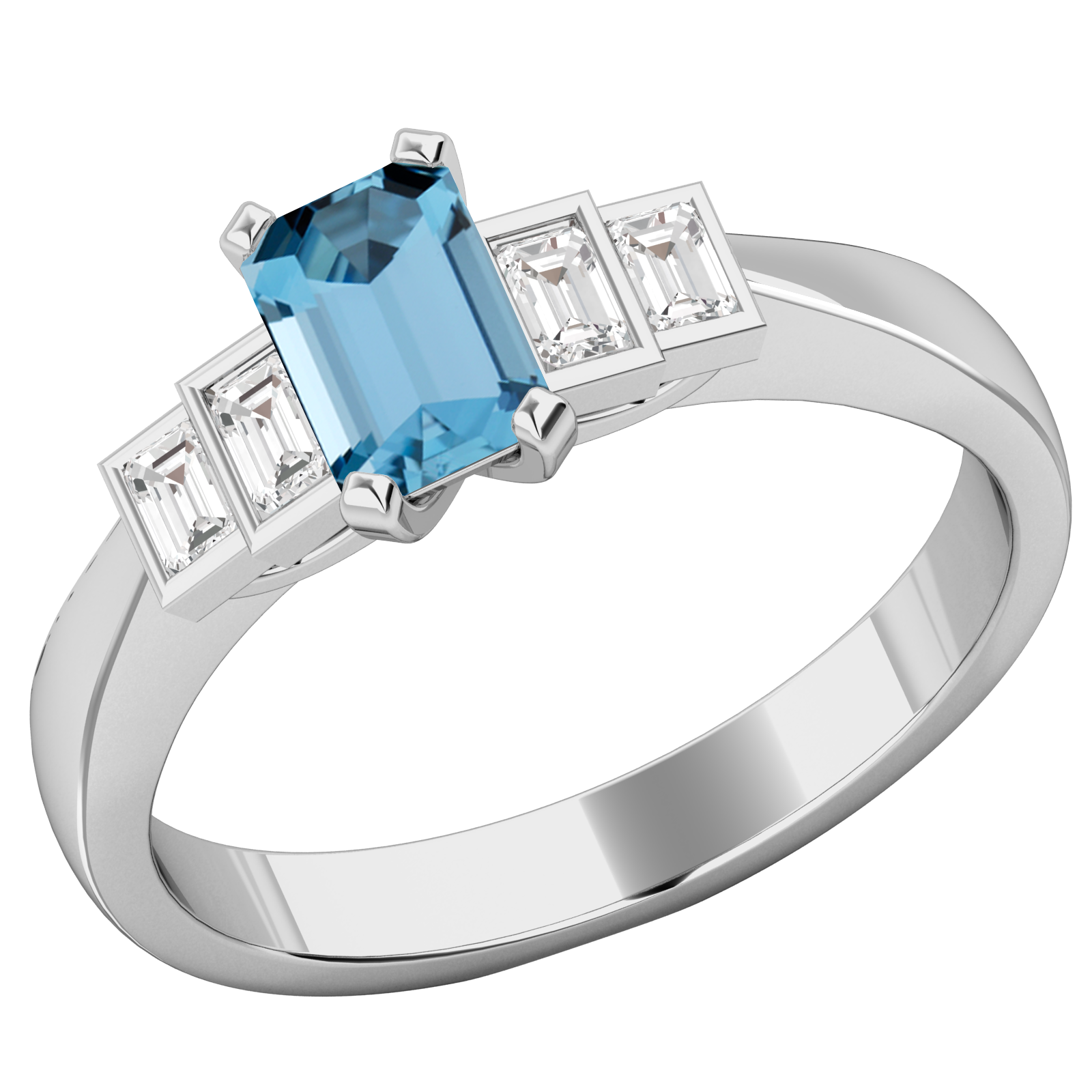RDAQ717W-Inel cu Acvamarin si Diamant Dama Aur Alb 18kt cu un Acvamarin Taietura Smarald si 4 Diamante Forma Bagheta,in Setare Rub-Over-img1