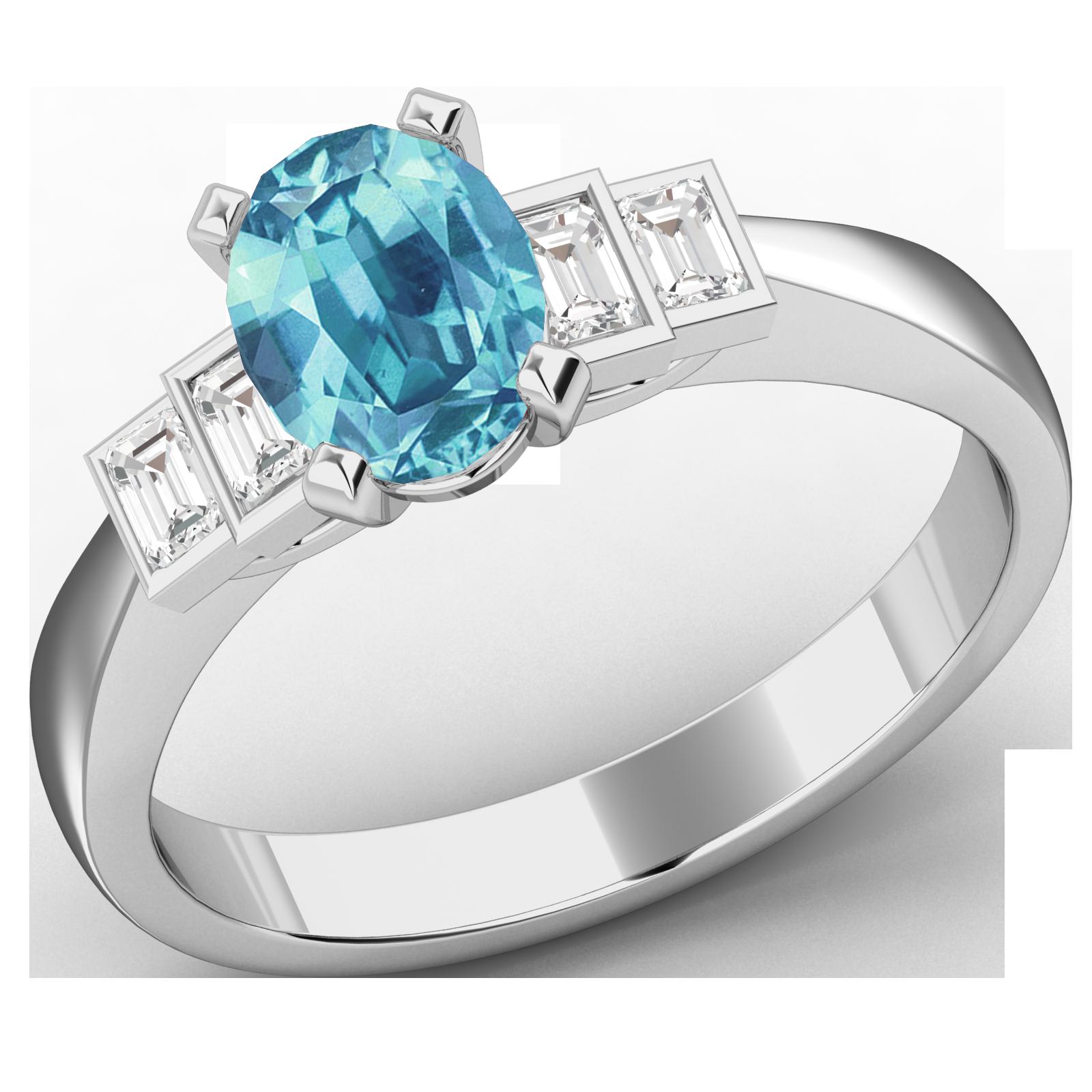 RDAQ718W-Inel cu Acvamarin si Diamante Dama Aur Alb 18kt cu 4 Diamante, cu un Acvamarin Central Oval si Diamante Forma Bagheta pe Margini-img1