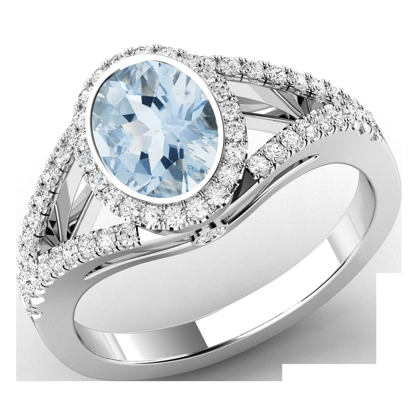 Inel cu Acvamarin si Diamante Dama Aur Alb 18kt Stil Cluster cu Diamante pe Margini-img1