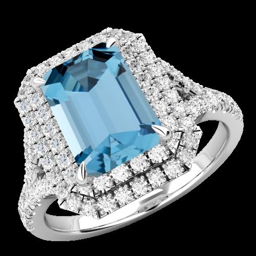 RDAQ742W-Inel cu Acvamarin si Diamante Dama Aur Alb 18kt cu Acvamarin Central Taietura Smarald si Diamante Mici Rotund Briliant Imprejur si pe Lateral-img1