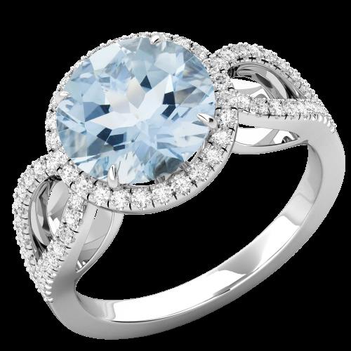 RDAQ748W-Inel cu Acvamarin si Diamante Dama Aur Alb 18kt,un Acvmarin Rotund Briliant Setate cu Gheare si o Sina Superba Despicata-img1