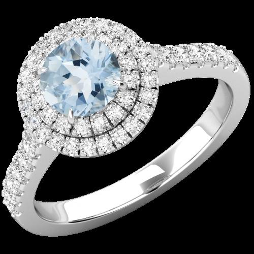 RDAQ761W-Inel Dama Aur Alb 18kt cu Acvamarin si Diamante, Stil Halo,Design Clasic,Eleganta Moderna-img1