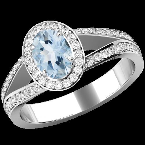 Inel cu Acvamarin si Diamante Dama Aur Alb 18kt cu un Acvamarin Central Oval si Diamante Mici Rotund Briliant Imprejur si pe Margini-img1