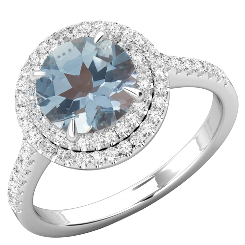 RDAQ777W-Inel cu Acvamarin si Diamant Dama Aur Alb 18kt cu un Acvamarin Rotund Inconjurat de 68 Diamante Rotund Briliant,Stil Halo-img1
