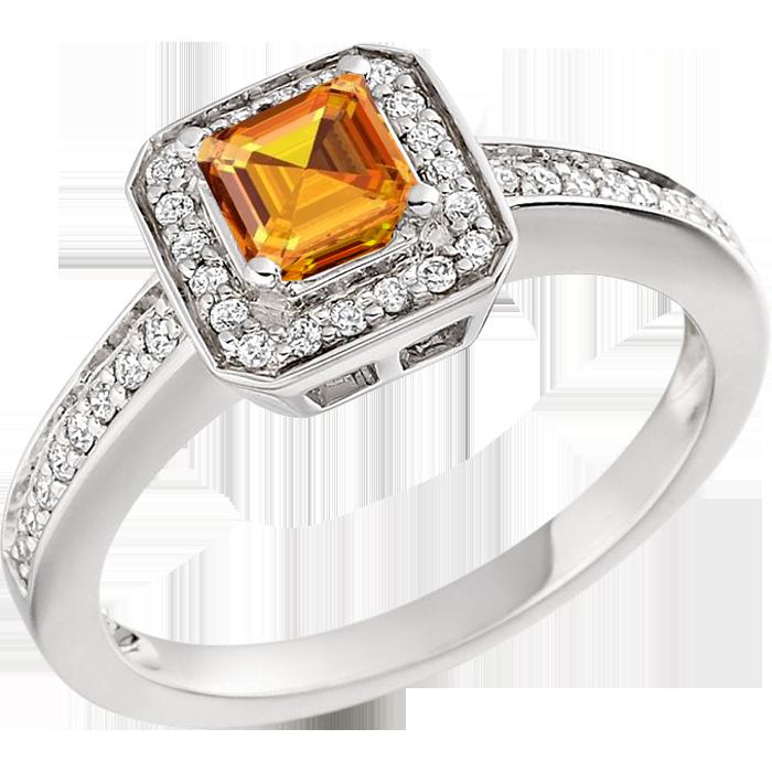 Inel Dama Aur Alb 18kt cu Citrin Auriu si Diamante, Stil Halo-img1