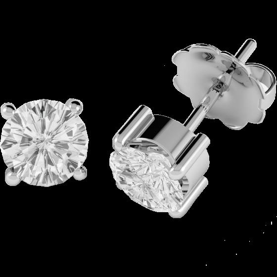 Cercei Tip Stud Aur Alb 18kt cu Diamant Rotund Briliant Setat cu 4 Gheare-img1