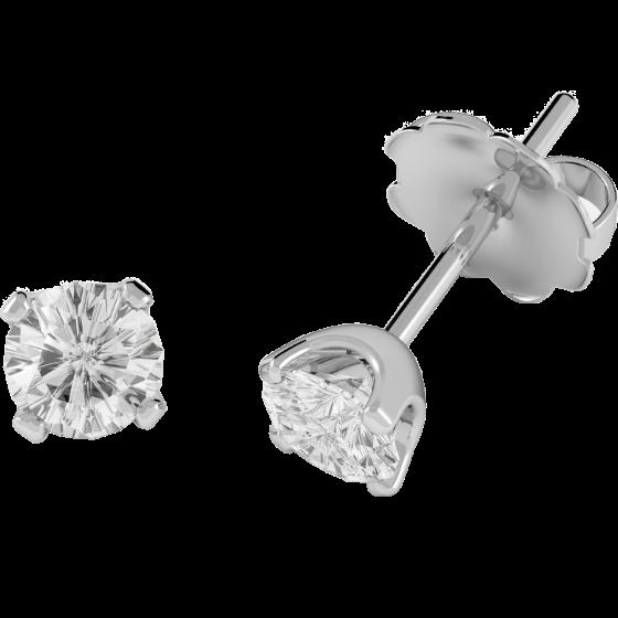 Cercei Tip Stud Aur Alb 18kt cu Diamant Rotund Briliant-img1