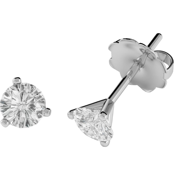 Diamond Stud Earrings In 18ct White Gold With Round Brilliant Cut Diamonds A 3 Claw Setting