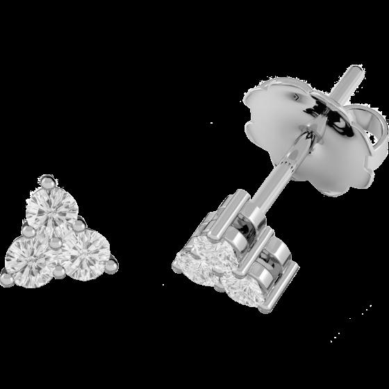 Diamant-Ohrstecker in 9kt Weißgold mit 3 Brillanten in Krappenfassung-img1